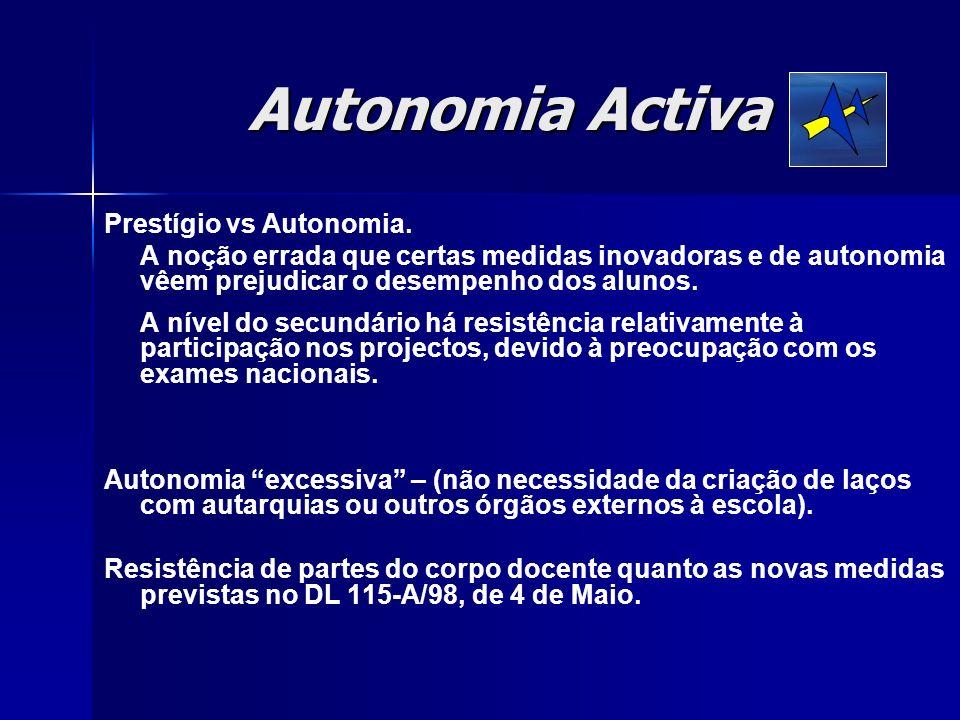 Autonomia Activa Prestígio vs Autonomia.