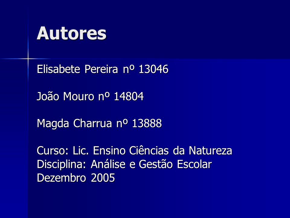 Autores Elisabete Pereira nº 13046 João Mouro nº 14804