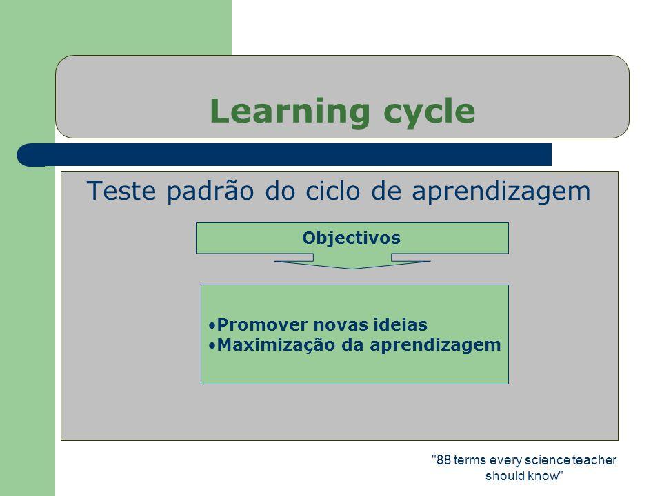 Learning cycle Teste padrão do ciclo de aprendizagem Objectivos