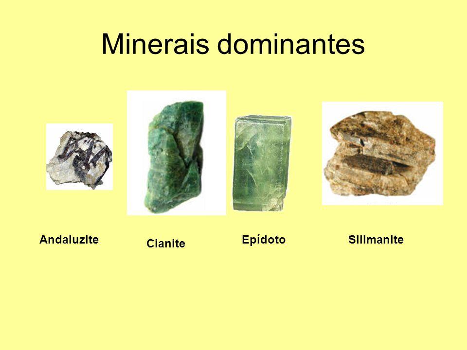 Minerais dominantes Andaluzite Epídoto Silimanite Cianite