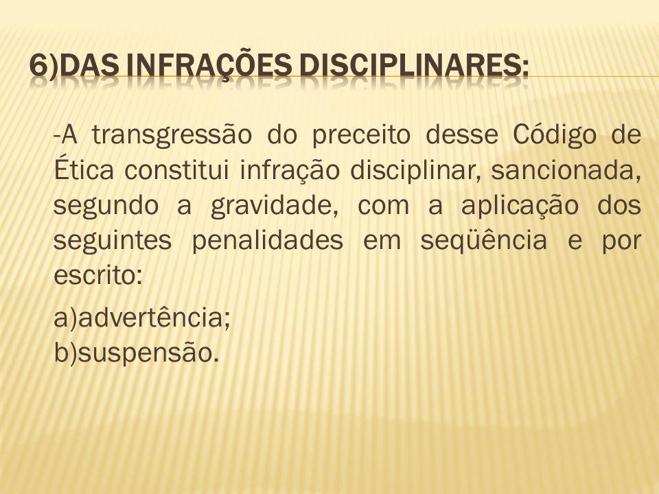 6)Das Infrações Disciplinares: