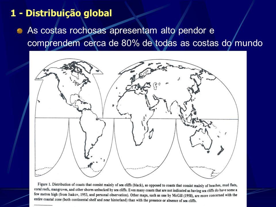 1 - Distribuição global As costas rochosas apresentam alto pendor e comprendem cerca de 80% de todas as costas do mundo.