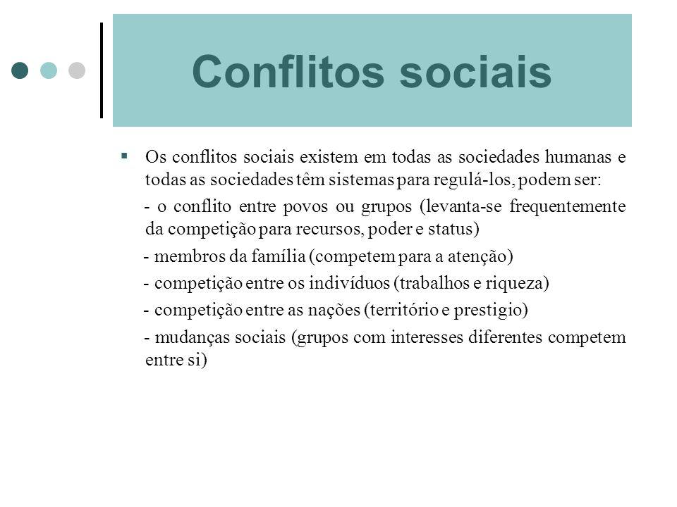 Conflitos sociais Os conflitos sociais existem em todas as sociedades humanas e todas as sociedades têm sistemas para regulá-los, podem ser: