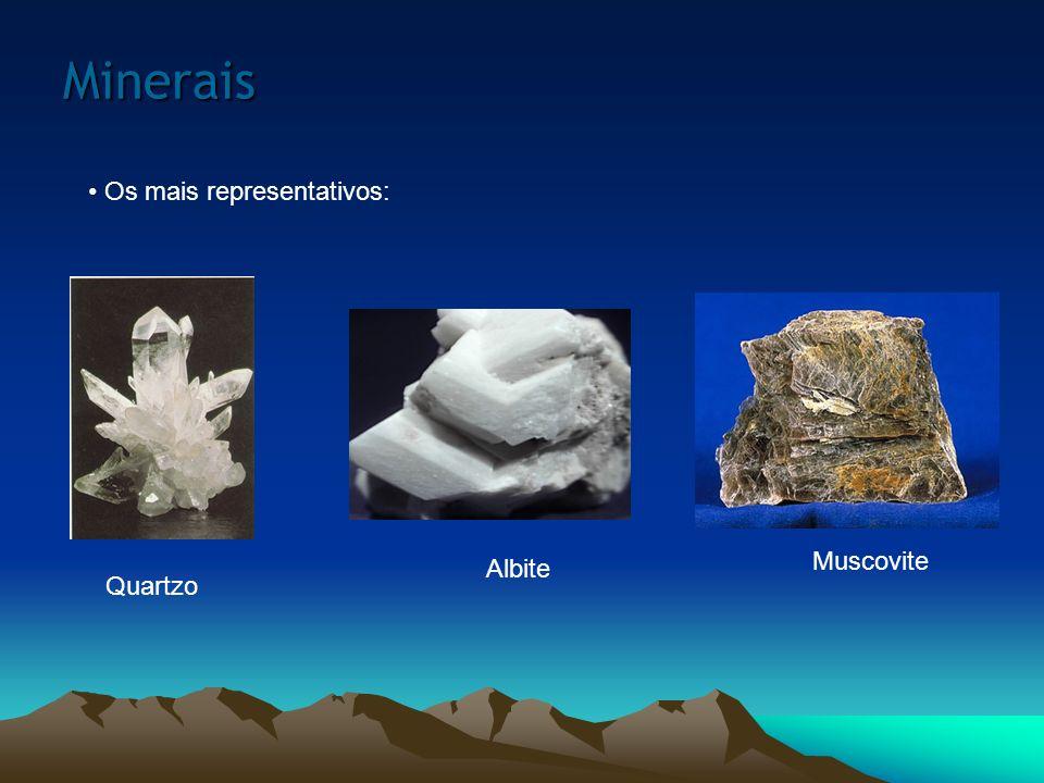 Minerais Os mais representativos: Muscovite Albite Quartzo