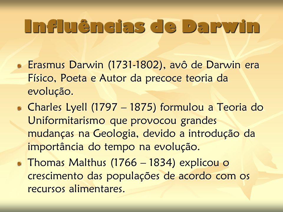 Influências de Darwin Erasmus Darwin (1731-1802), avô de Darwin era Físico, Poeta e Autor da precoce teoria da evolução.