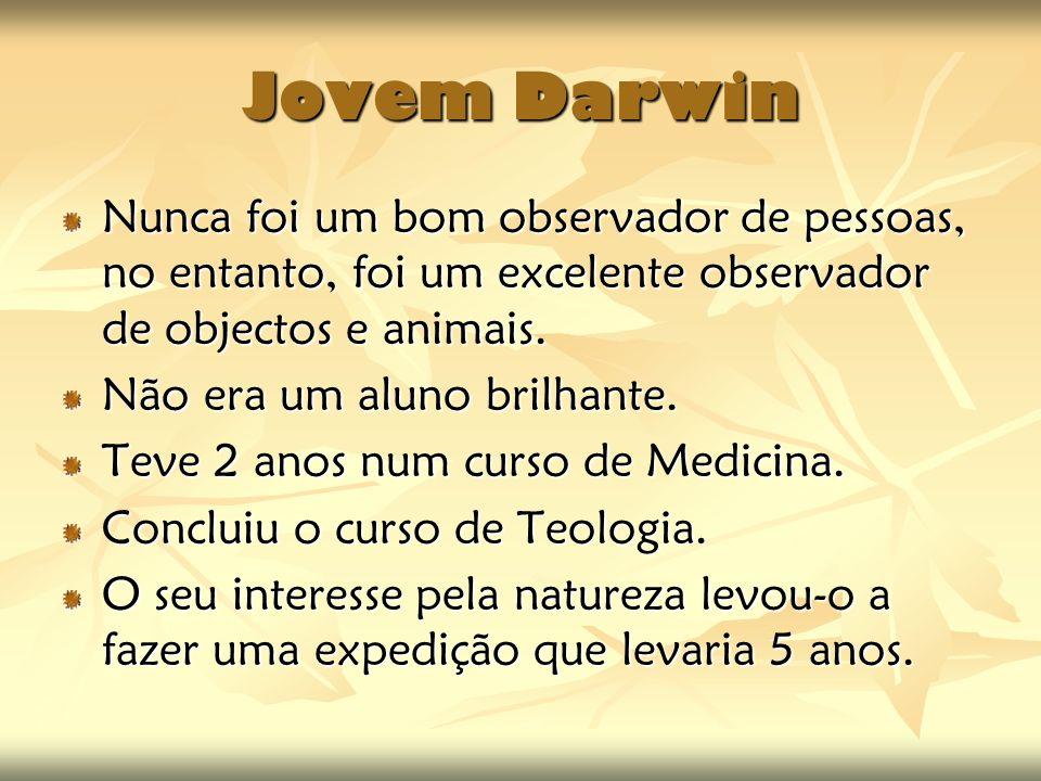 Jovem Darwin Nunca foi um bom observador de pessoas, no entanto, foi um excelente observador de objectos e animais.