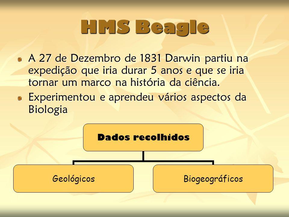 HMS Beagle A 27 de Dezembro de 1831 Darwin partiu na expedição que iria durar 5 anos e que se iria tornar um marco na história da ciência.