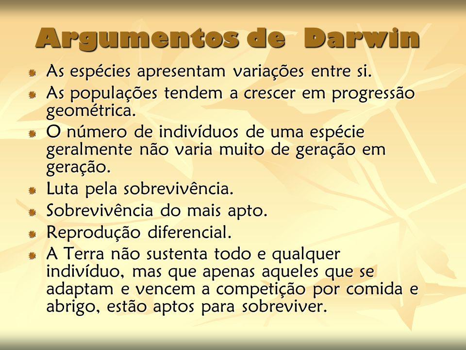 Argumentos de Darwin As espécies apresentam variações entre si.