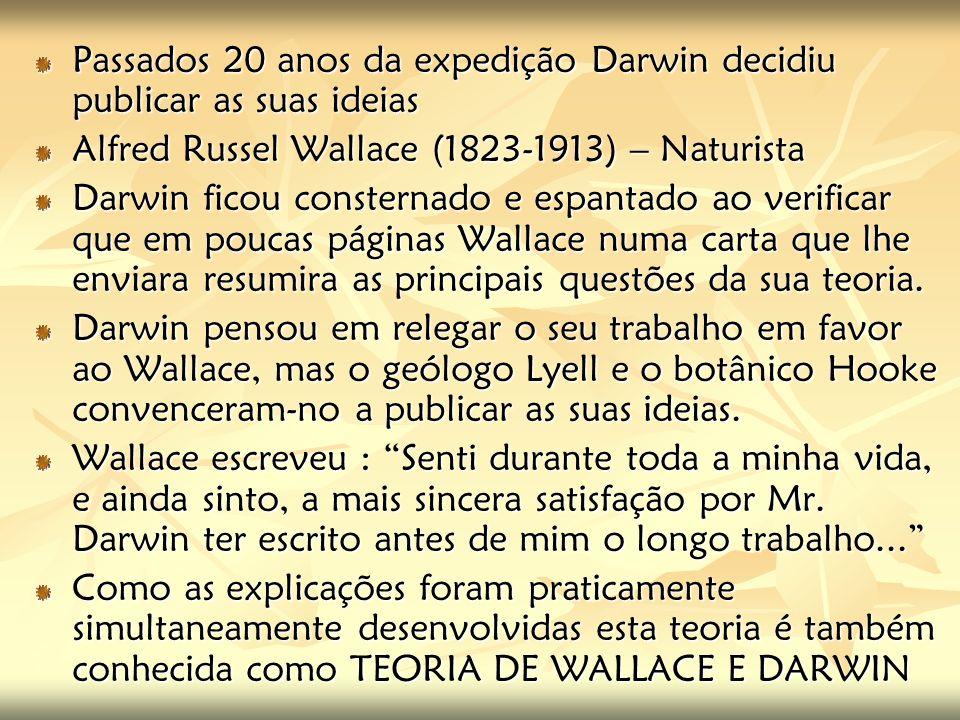 Passados 20 anos da expedição Darwin decidiu publicar as suas ideias