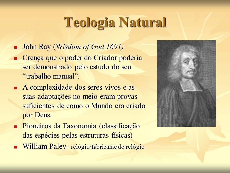 Teologia Natural John Ray (Wisdom of God 1691)
