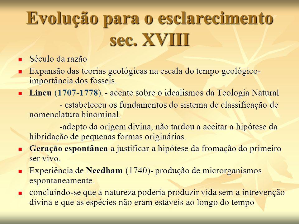 Evolução para o esclarecimento sec. XVIII