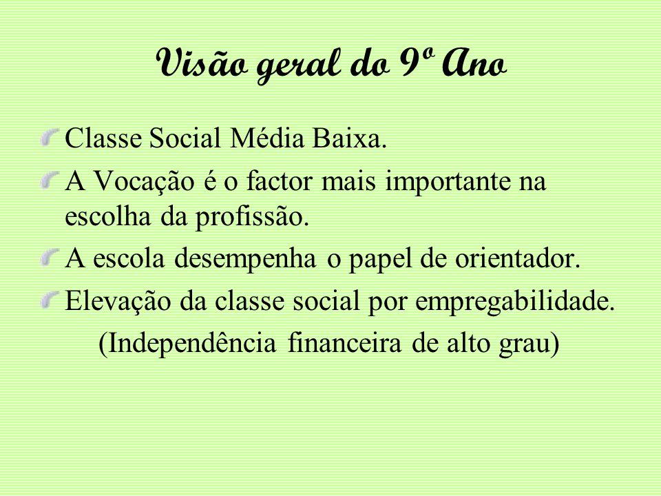 Visão geral do 9º Ano Classe Social Média Baixa.