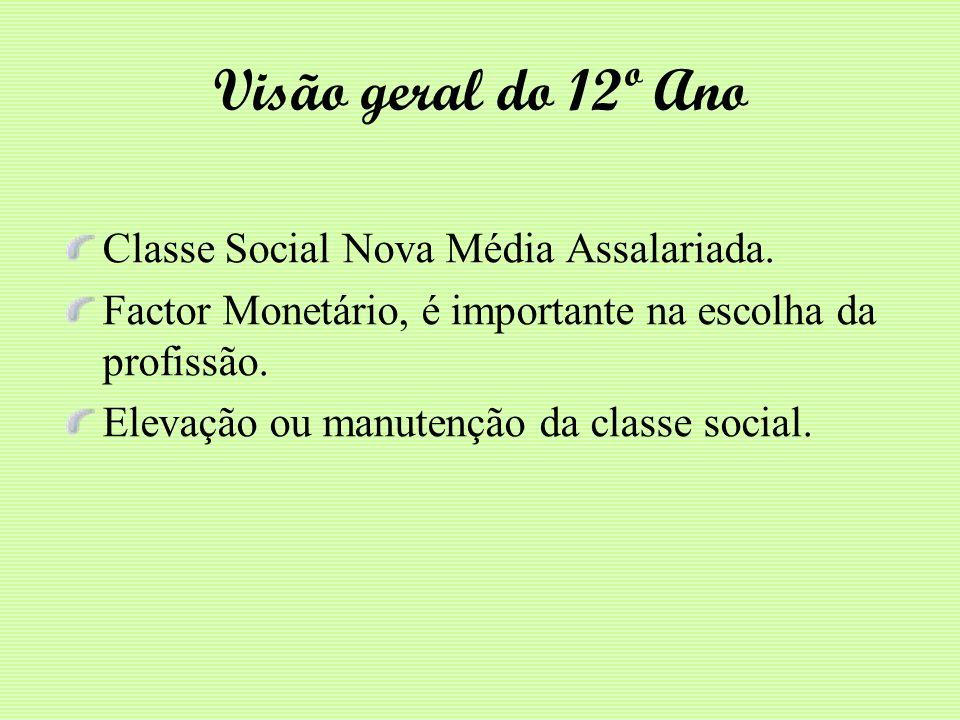 Visão geral do 12º Ano Classe Social Nova Média Assalariada.