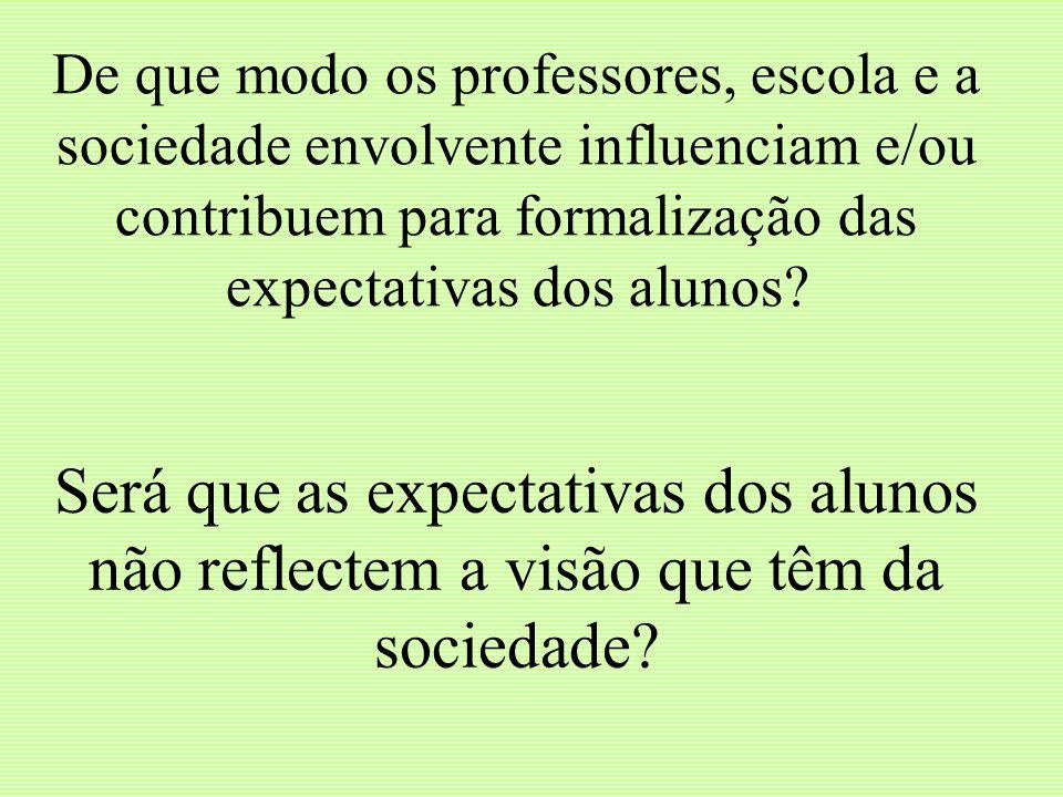 De que modo os professores, escola e a sociedade envolvente influenciam e/ou contribuem para formalização das expectativas dos alunos
