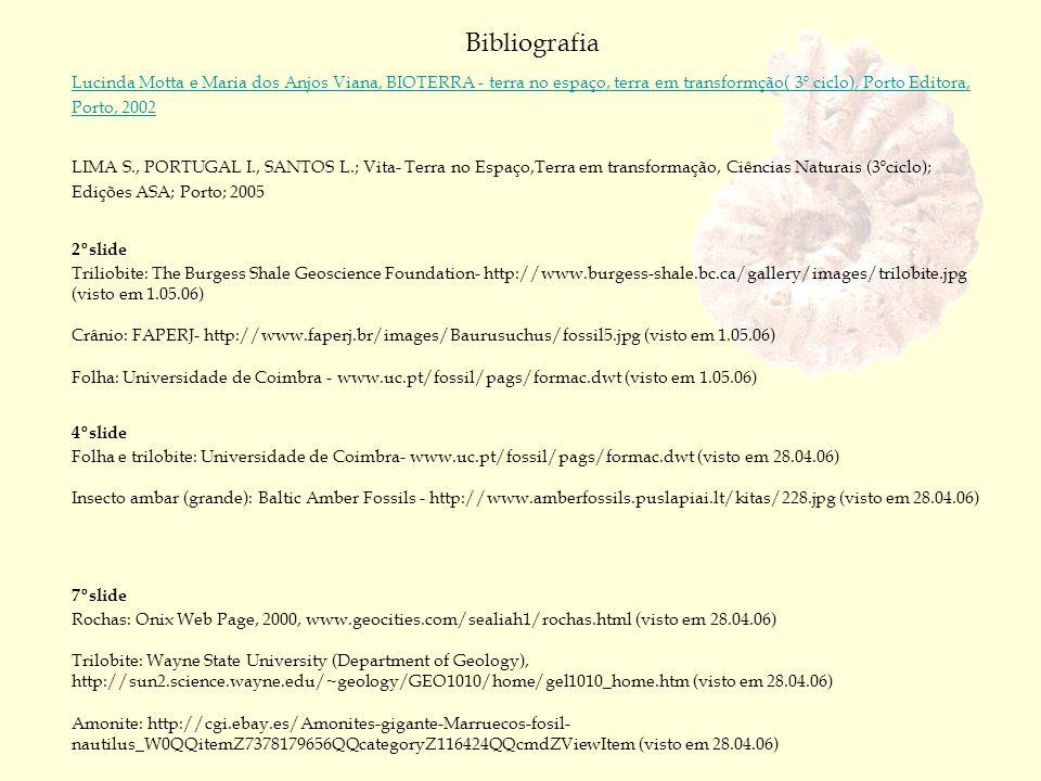 Bibliografia Lucinda Motta e Maria dos Anjos Viana, BIOTERRA - terra no espaço, terra em transformção( 3º ciclo), Porto Editora, Porto, 2002.