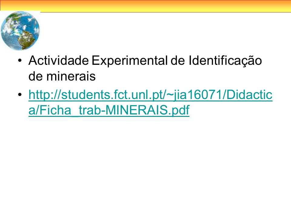 Actividade Experimental de Identificação de minerais