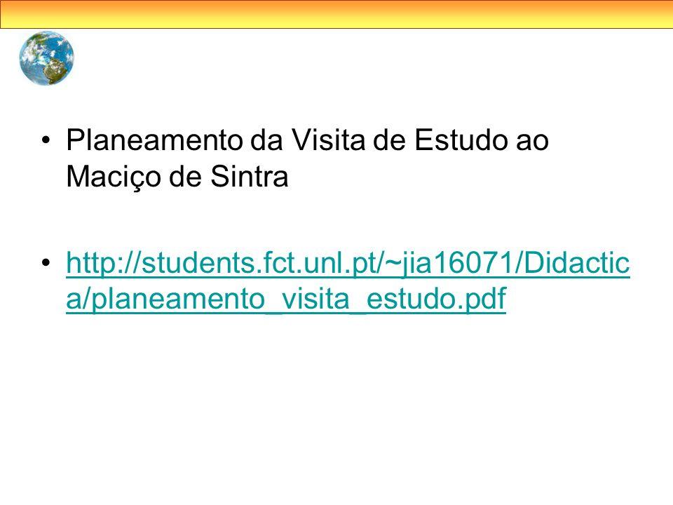 Planeamento da Visita de Estudo ao Maciço de Sintra