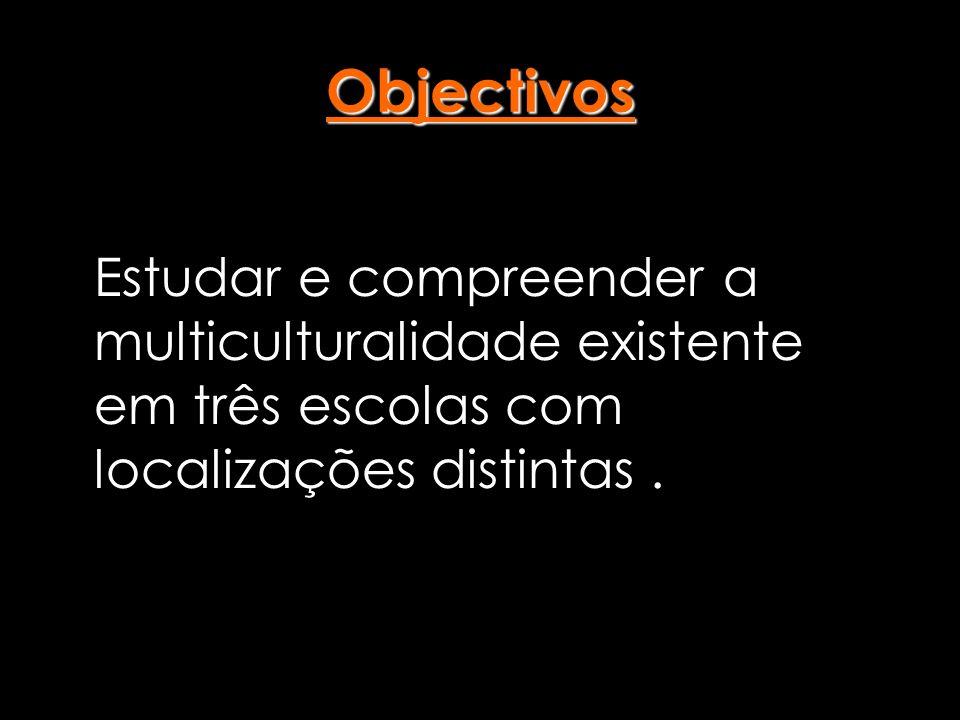 Objectivos Estudar e compreender a multiculturalidade existente em três escolas com localizações distintas .
