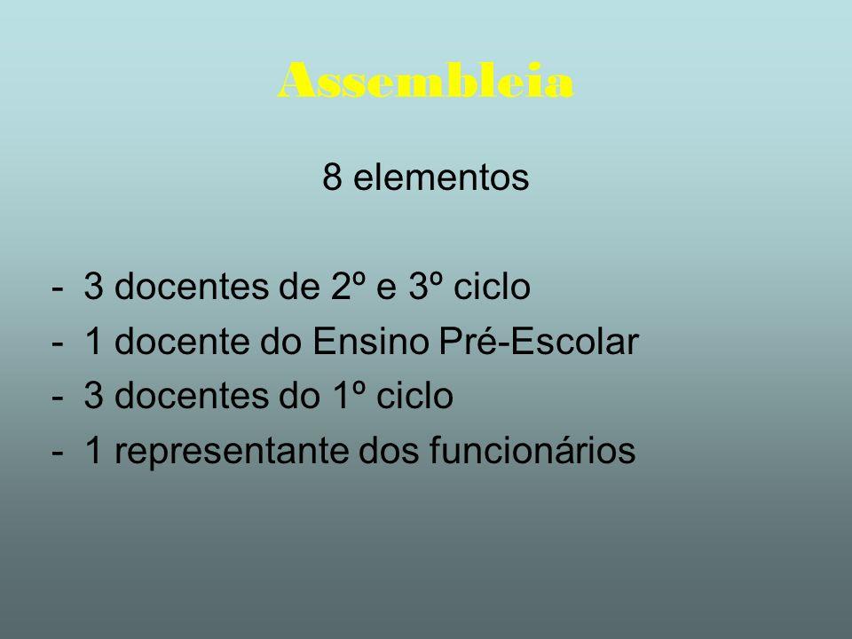 Assembleia 8 elementos 3 docentes de 2º e 3º ciclo