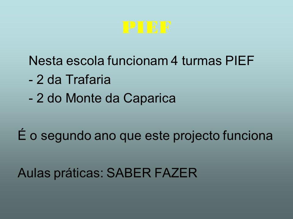 PIEF Nesta escola funcionam 4 turmas PIEF - 2 da Trafaria