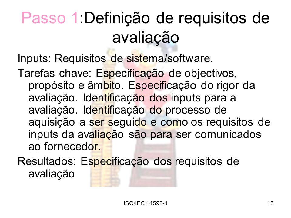 Passo 1:Definição de requisitos de avaliação