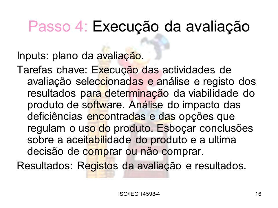 Passo 4: Execução da avaliação