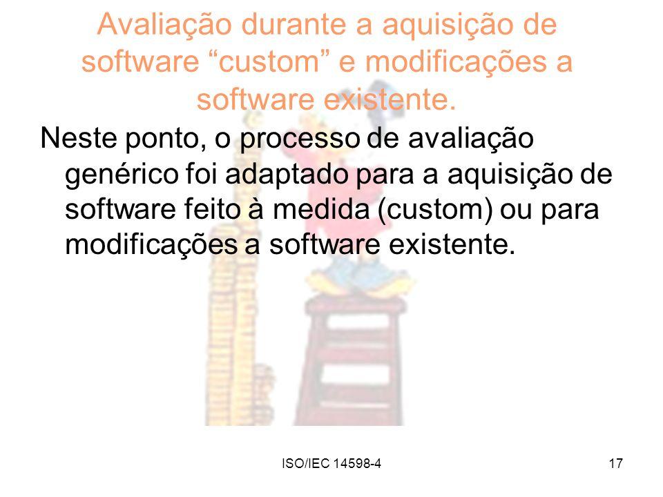 Avaliação durante a aquisição de software custom e modificações a software existente.