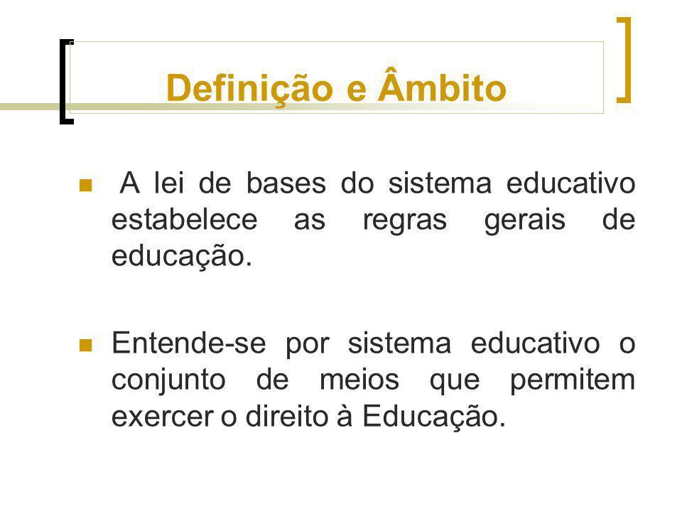 Definição e Âmbito A lei de bases do sistema educativo estabelece as regras gerais de educação.
