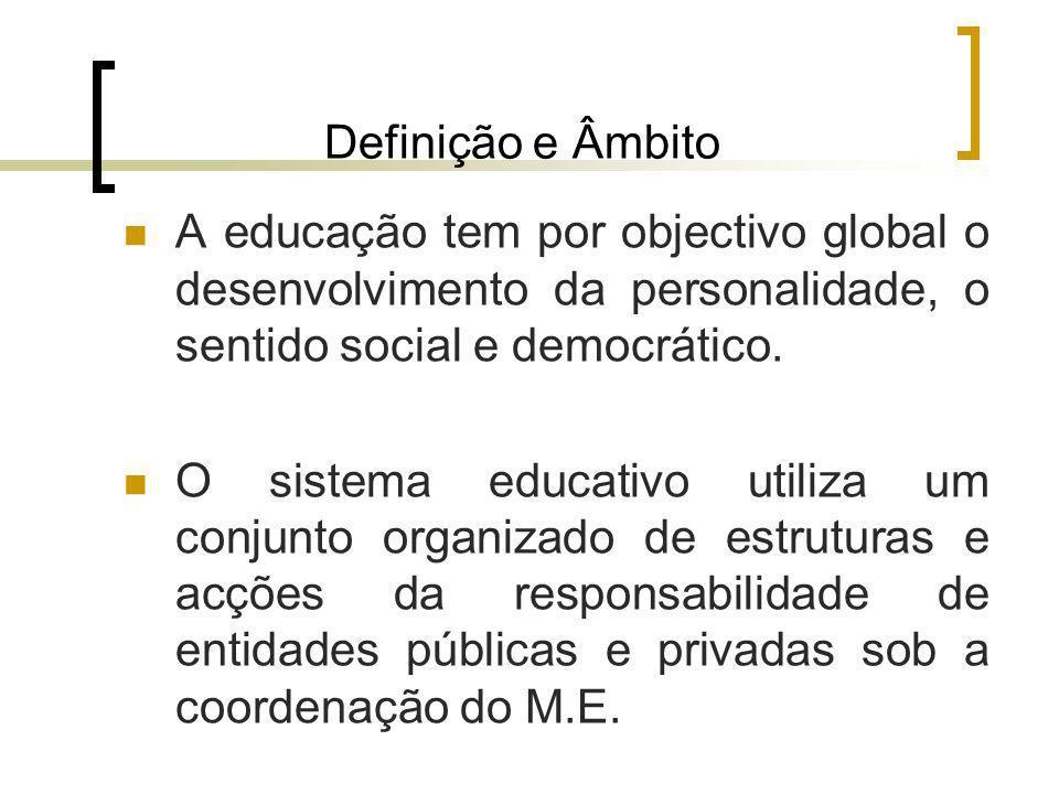 Definição e Âmbito A educação tem por objectivo global o desenvolvimento da personalidade, o sentido social e democrático.