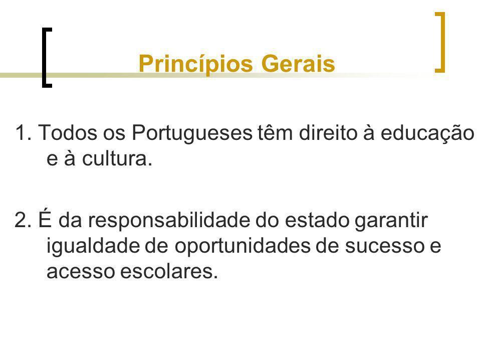 Princípios Gerais 1. Todos os Portugueses têm direito à educação e à cultura.