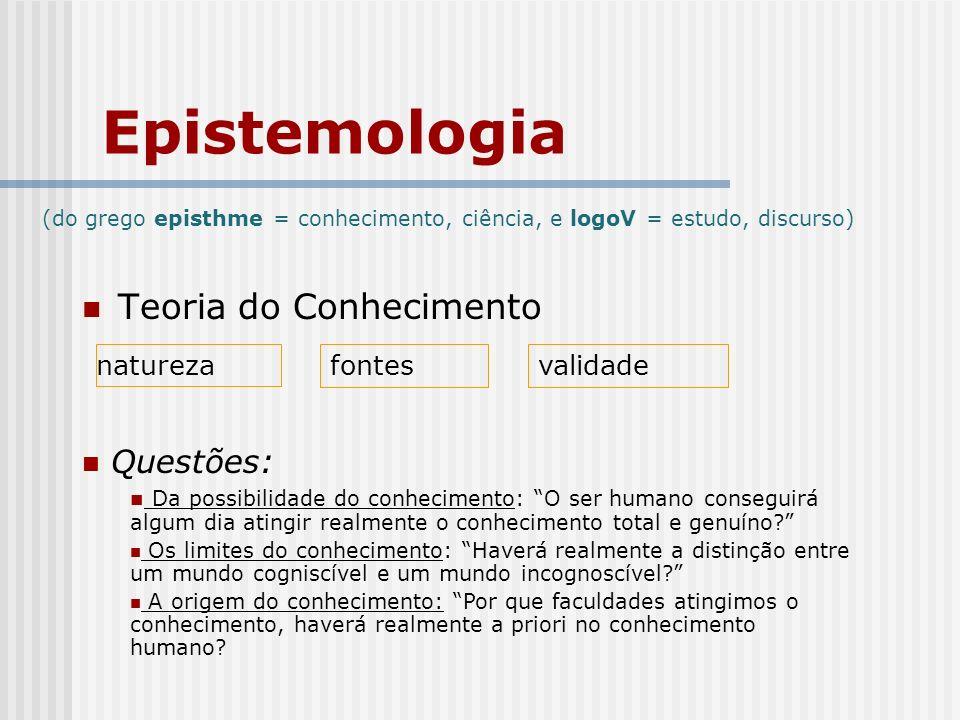 Epistemologia Teoria do Conhecimento Questões: natureza fontes