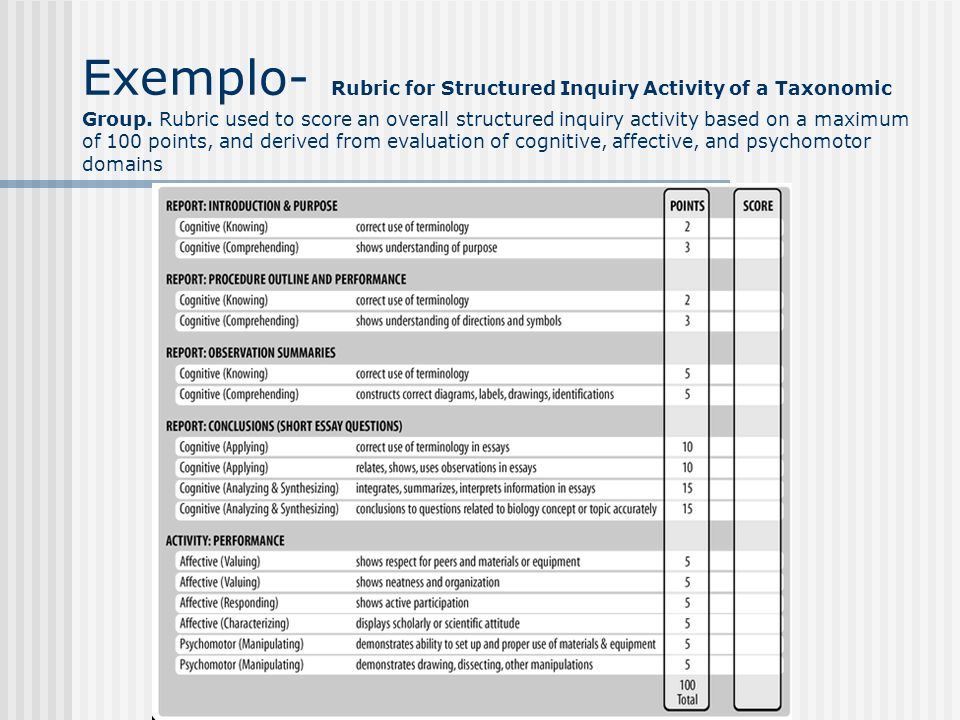 Exemplo- Rubric for Structured Inquiry Activity of a Taxonomic Group