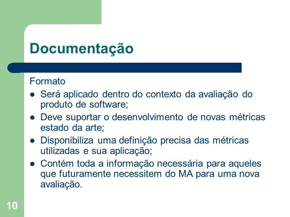 Documentação Formato. Será aplicado dentro do contexto da avaliação do produto de software;
