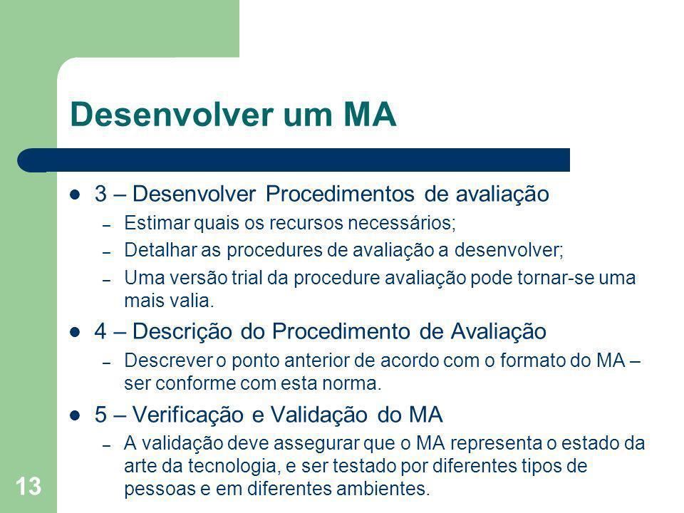 Desenvolver um MA 3 – Desenvolver Procedimentos de avaliação