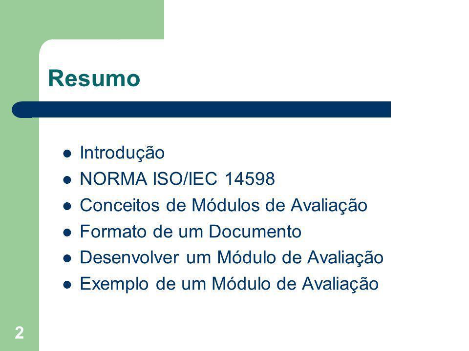 Resumo Introdução NORMA ISO/IEC 14598