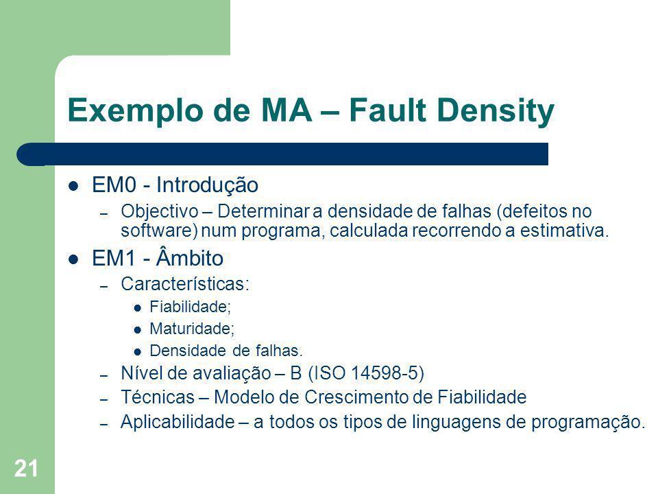 Exemplo de MA – Fault Density
