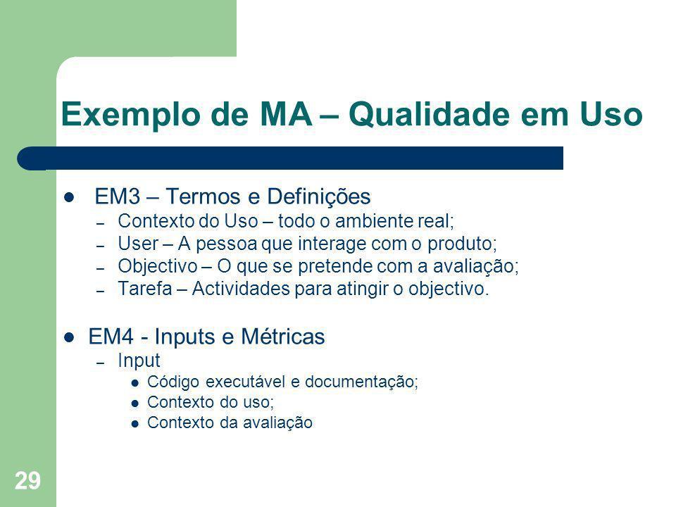 Exemplo de MA – Qualidade em Uso