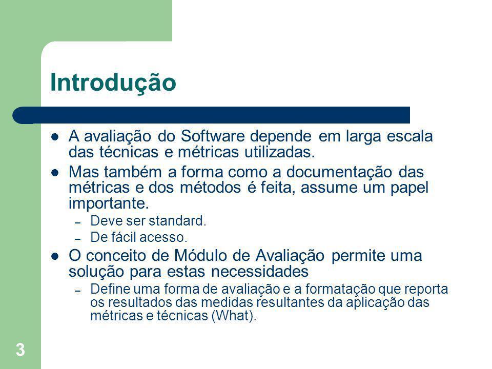 Introdução A avaliação do Software depende em larga escala das técnicas e métricas utilizadas.