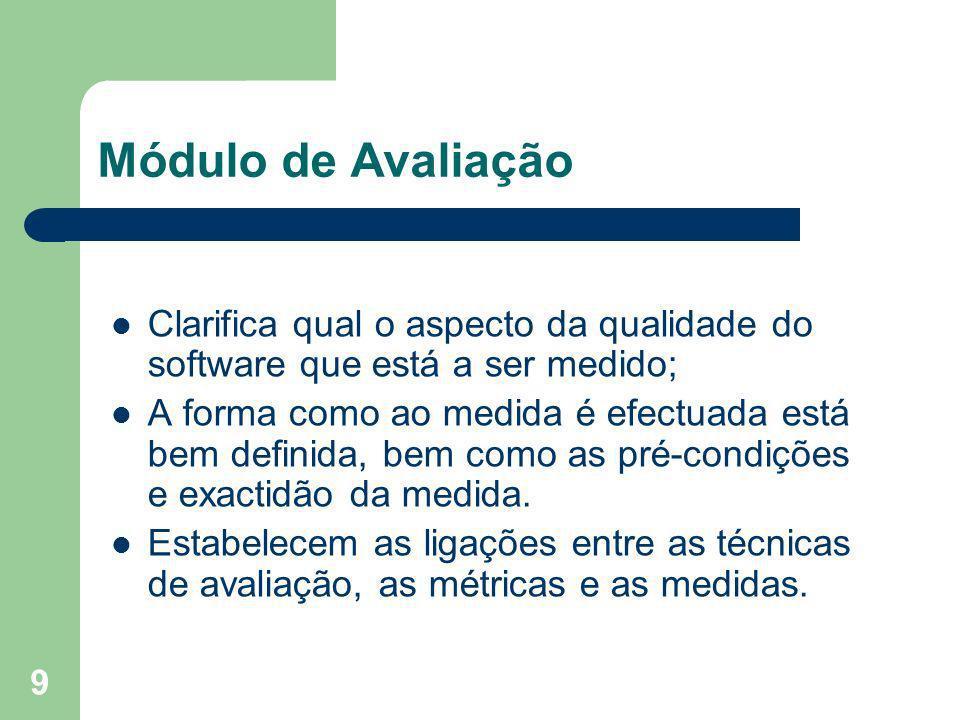Módulo de Avaliação Clarifica qual o aspecto da qualidade do software que está a ser medido;