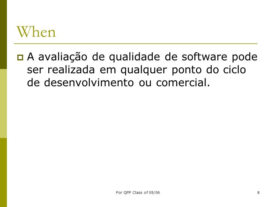 When A avaliação de qualidade de software pode ser realizada em qualquer ponto do ciclo de desenvolvimento ou comercial.