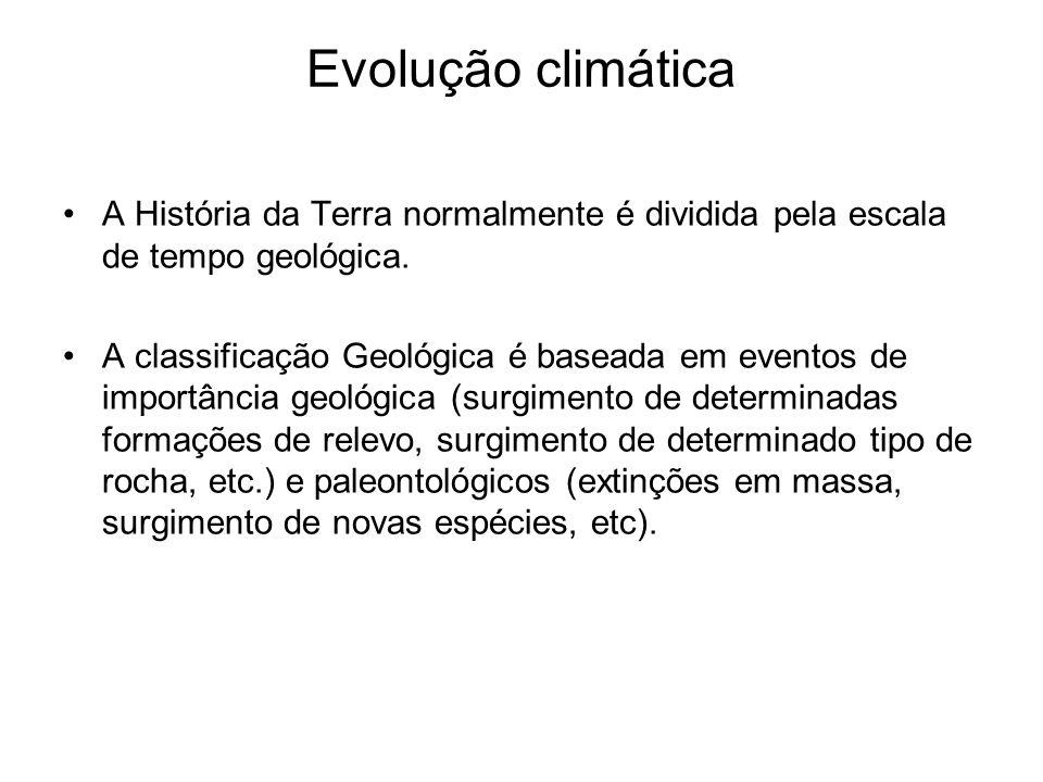 Evolução climática A História da Terra normalmente é dividida pela escala de tempo geológica.