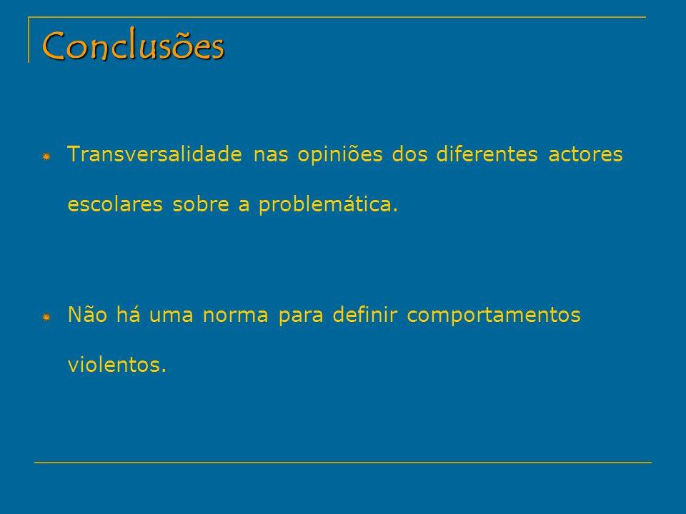 Conclusões Transversalidade nas opiniões dos diferentes actores escolares sobre a problemática.