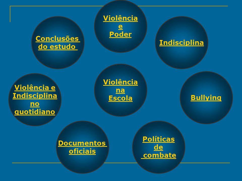 Violência e. Poder. Conclusões. do estudo. Indisciplina. Violência. na. Escola. Bullying. Violência e.