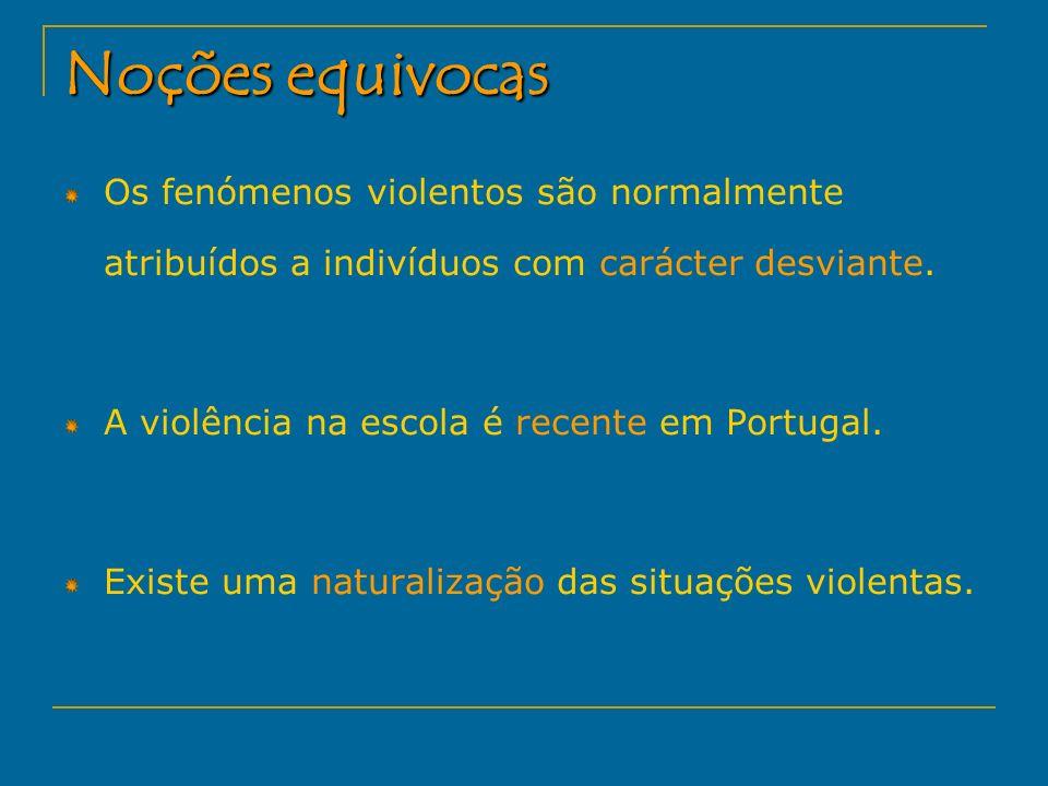Noções equivocas Os fenómenos violentos são normalmente atribuídos a indivíduos com carácter desviante.
