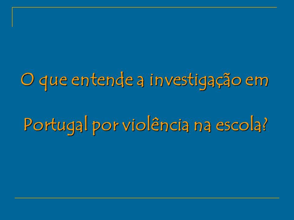 O que entende a investigação em Portugal por violência na escola