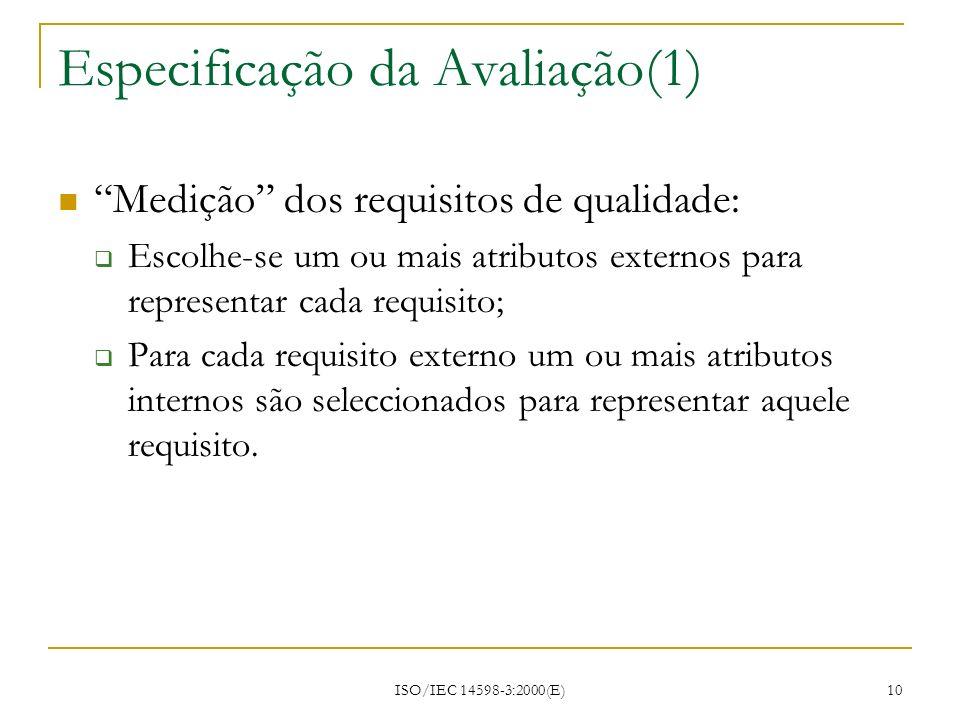 Especificação da Avaliação(1)