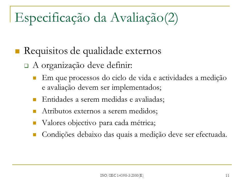 Especificação da Avaliação(2)