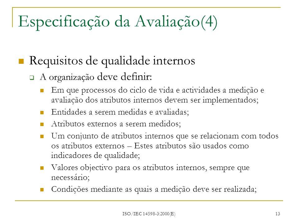 Especificação da Avaliação(4)