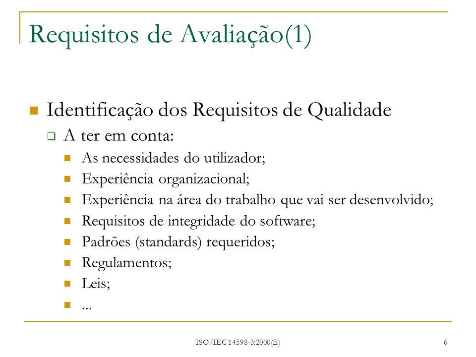Requisitos de Avaliação(1)
