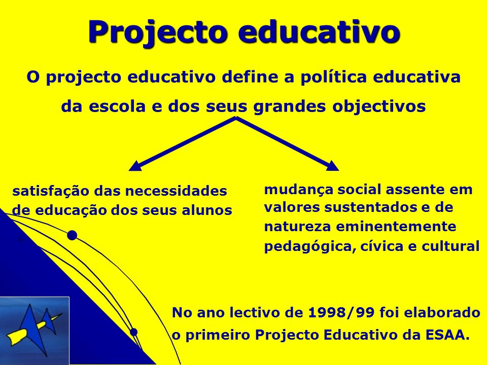 Projecto educativo O projecto educativo define a política educativa